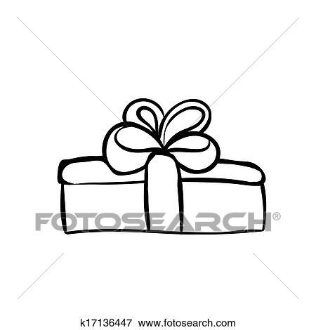 Clip Art Of Gift Box Sketch K17136447