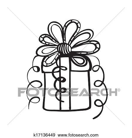Clip Art Of Gift Box Sketch K17136449