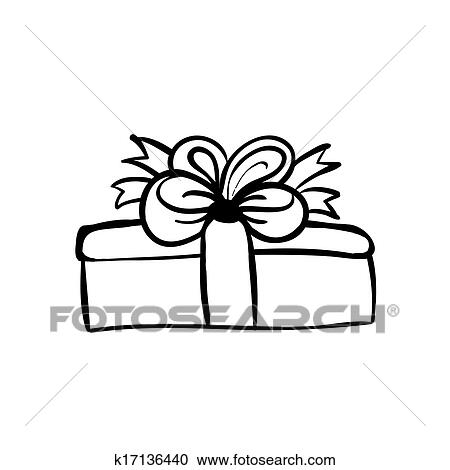 Vector Hand Drawn Gift Box With Bow Black Sketch On White Background Clipart Of K17136440 Search Clip Art Ilration