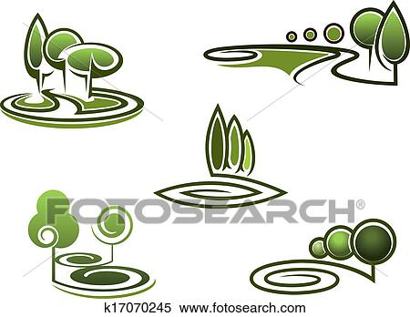 Clipart Of Green Trees Elements For Landscape Design K17070245
