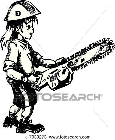 Clipart Of Guy With Chainsaw K17039273