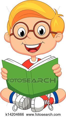 Jeune Garcon Dessin Anime Livre Lecture Clipart