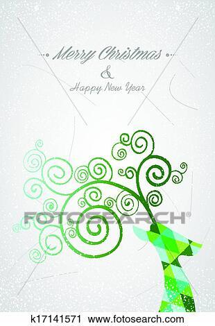 Clipart Joyeux Noel Colore Resume Tete Renne K17141571