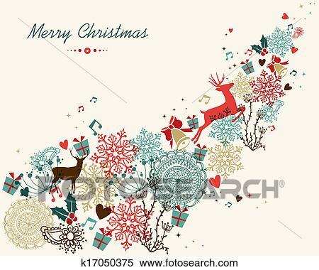 Clipart Joyeux Noel Vendange Couleurs Transparence K17050375