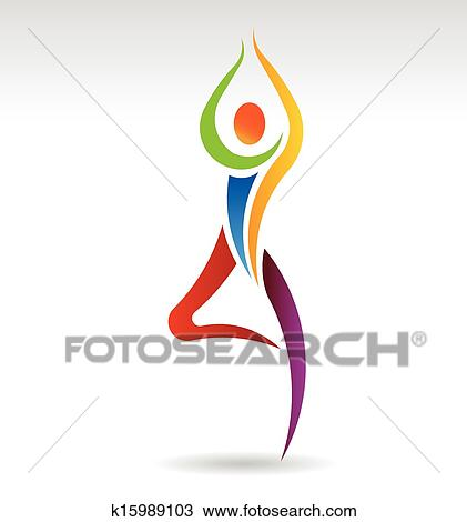 clipart of yoga tree pose logo vector k15989103  search