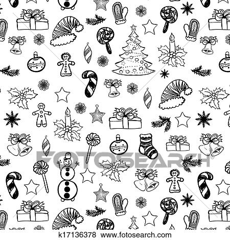 clip art weihnachten doodles seamless schwarz wei 2 k17136378 suche clipart poster. Black Bedroom Furniture Sets. Home Design Ideas