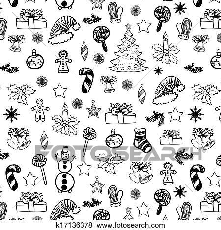 clip art weihnachten doodles seamless schwarz wei. Black Bedroom Furniture Sets. Home Design Ideas
