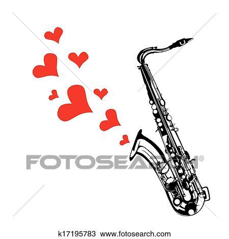 Clipart c ur amour musique saxophone jouer k17195783 - Clipart amour ...