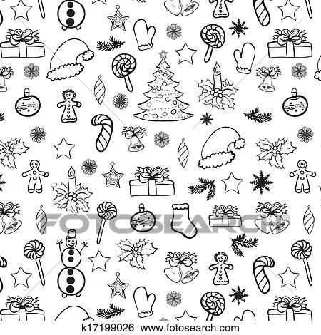 clip art weihnachten doodles seamless schwarz wei. Black Bedroom Furniture Sets. Home Design Ideas