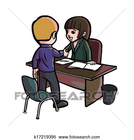 clipart dessin anim employ bureau serrer main k17219395 recherchez des clip arts des. Black Bedroom Furniture Sets. Home Design Ideas