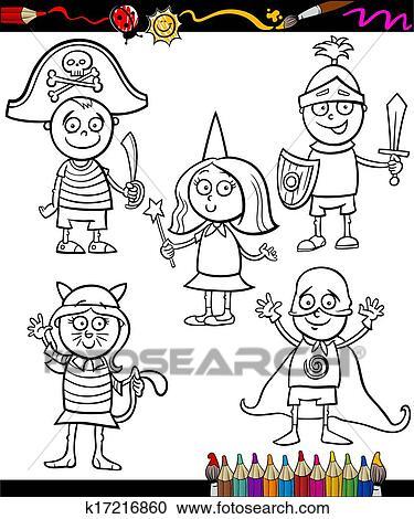 Clipart - kinder, in, kostüme, satz, färbung, seite k17216860 ...
