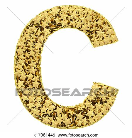 stock illustration letter c composed of golden stars isolated on white fotosearch search