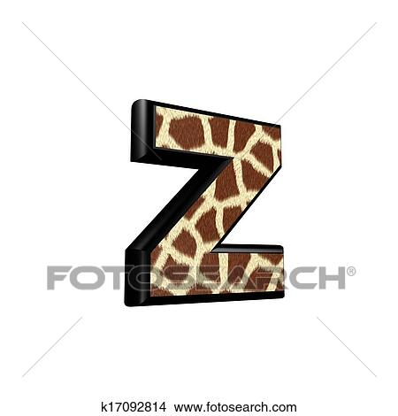 Drawings of letter with giraffe fur texture - z k17092814