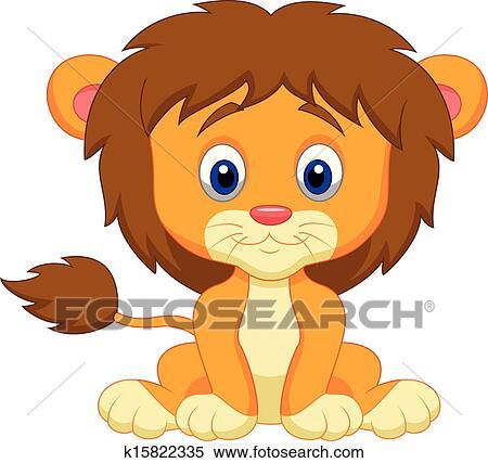 Clipart Lion Bébé Dessin Animé Séance K15822335 Recherchez Des