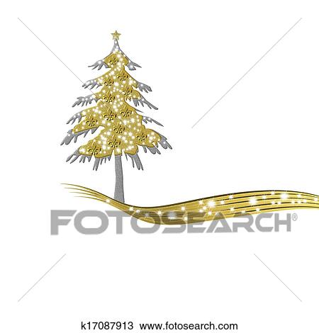 Luxurious Gold Christmas Tree And Stars Drawing