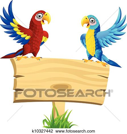 clipart of macaw bird with blank signboard k10327442 search clip rh fotosearch com Love Birds Clip Art Love Birds Clip Art