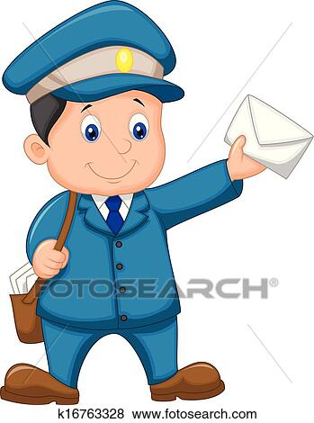 Mail carrier cartoon with bag and l Clip Art | k16763328 ...