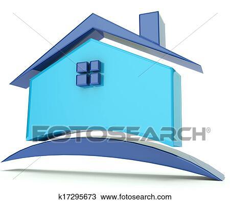 Dessin  Maison Bleu Toit Illustration Logo K