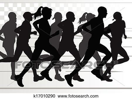 Clipart Of Marathon Runners Detailed Active Man And Woman