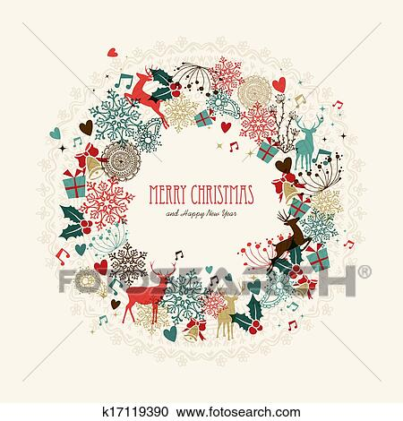 clipart merry christmas vintage wreath card fotosearch search clip art illustration murals