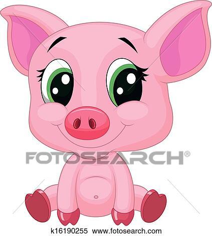 Cochon Dessin clipart - mignon, bébé, cochon, dessin animé k16190255 - recherchez