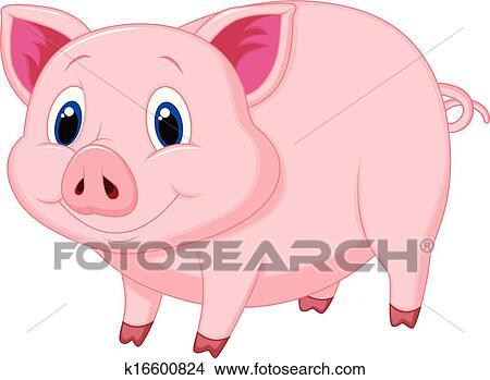 Cochon Dessin clipart - mignon, cochon, dessin animé k16600824 - recherchez des