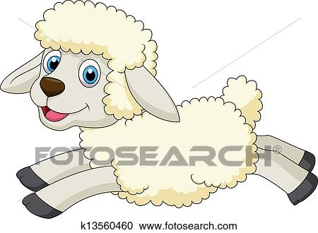 Clipart mignon mouton dessin anim sauter k13560460 - Mouton dessin anime ...