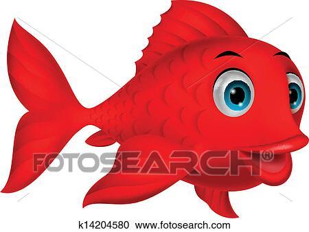 Clipart mignon poisson rouge dessin anim k14204580 - Dessin de poisson rouge ...