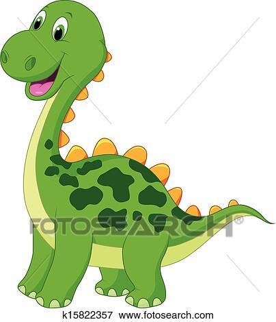 Mignon vert dinosaure dessin anim clipart k15822357 - Dinosaure dessin anime disney ...