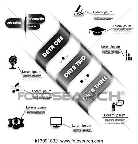 clipart of modern design for education process infographic template