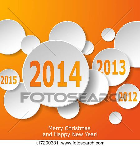 clipart modern new year greeting card with paper circles on orange background vector eps10