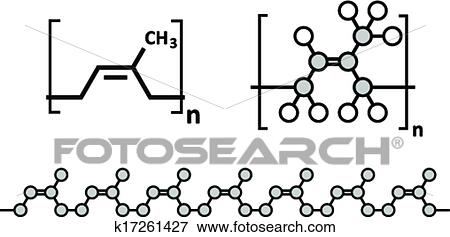 Natural rubber (cis-1, 4-polyisoprene), chemical structure  Used to  manufacture surgeons' gloves, condoms, boots, car tires, etc  Clip Art