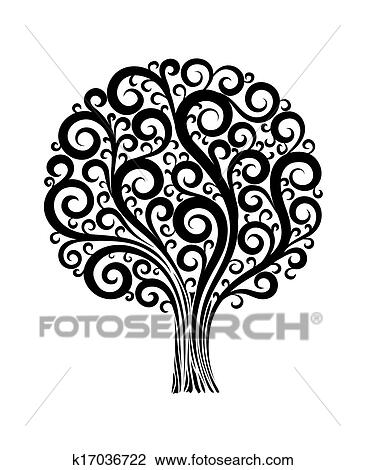 Nero Albero In Uno Fiore Disegno Con Turbini E Flourishes