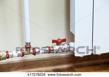 Drawings of New installed central heating radiator with valve on ...