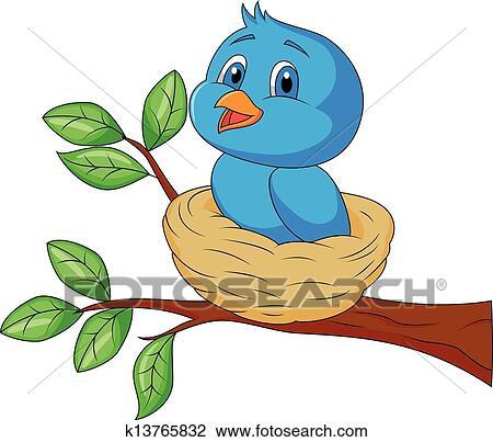 Oiseau Bleu Dessin Animé Dans Les Nid Clipart