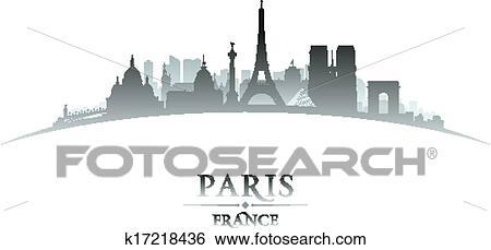 Clip Art Of Paris France City Skyline Silhouette White Background