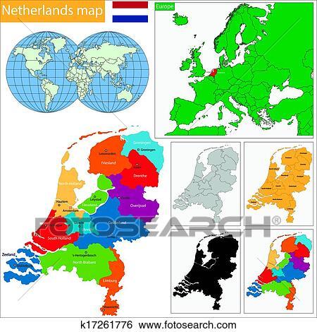 Carte Europe Pays Bas.Pays Bas Carte Clipart K17261776 Fotosearch