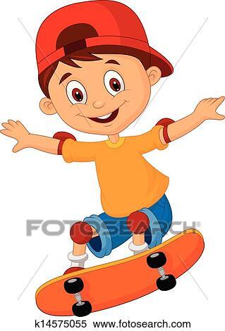 Petit Garçon Dessin Animé Skateboarding Clipart