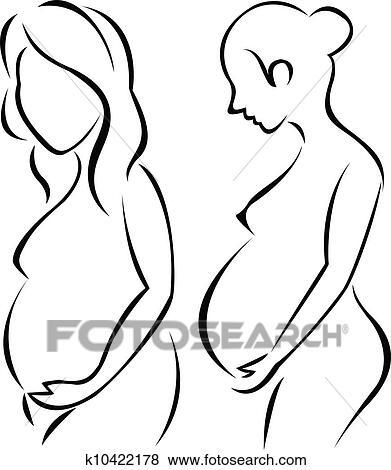 Clip Art Of Pregnant Woman Symbol K10422178