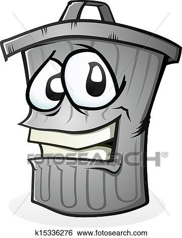 clipart propre poubelle dessin anim caract re k15336276 recherchez des cliparts des. Black Bedroom Furniture Sets. Home Design Ideas