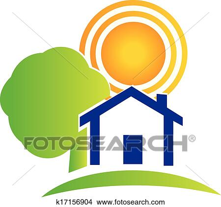 clipart of real estate house tree and sun logo k17156904 search rh fotosearch com real estate clipart real estate agent clipart