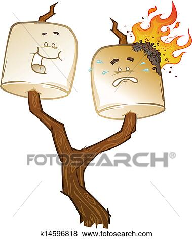 clip art of roasted marshmallow cartoons k14596818 search clipart rh fotosearch com marshmallow clipart black and white clipart marshmallow man