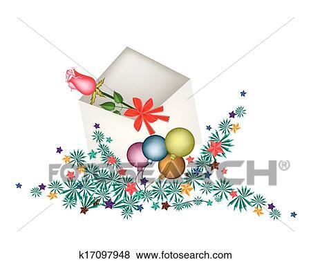Clipart Rose Rouge Dans Ouvert Enveloppe A Noel Balles