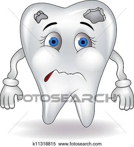 Sad Tooth Clipart K11318815 Fotosearch