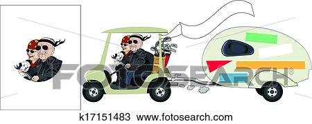 Senior Cartoon Golf Cart Couple Clipart K17151483 Fotosearch