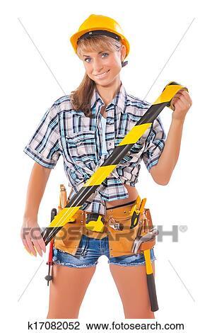 Stock Foto Sexy Bauarbeiterin Halten Achtung Band K17082052