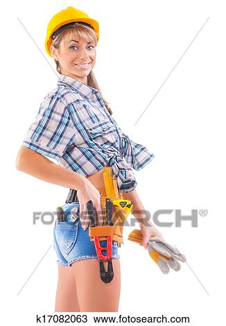 Stock Foto Sexy Bauarbeiterin Hinuber Weiss K17082063 Suche