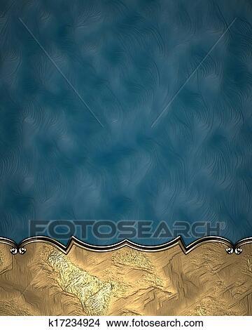 Sfondo Blu Con Uno Vendemmia Oro Segno Con Oro Trim