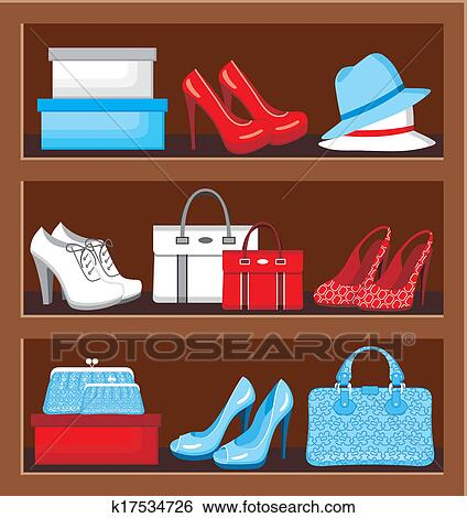 Shelf With Bags And Shoes Clip Art K17534726