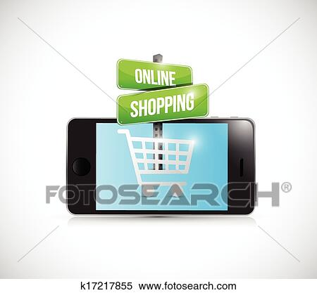 f7cb7a9d36a Clipart - smartphone online shopping sign illustration. Fotosearch